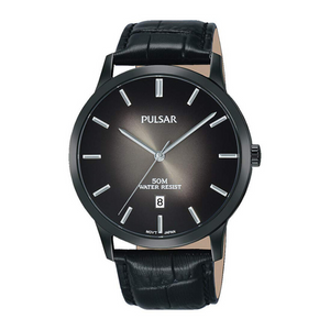 Pulsar Mens Classic 50M Water Resistant Watch – Black Leather Strap – PS9535X1