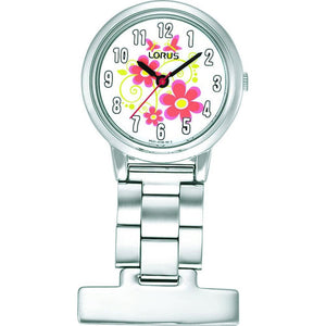 Lorus Nurses Fob Watch - Silver with Flower Pattern Dial - RG237HX9