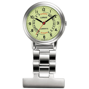 Lorus Nurses Fob Watch - Silver with Yellow Dial - RG253CX9