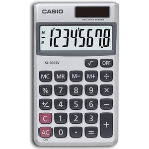 Casio SL300 Pocket Calculator with 8-Digit Display and 3-Key Memory - Silver - SL300SV