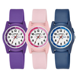 Lorus Kids Time Teacher Silicone Strap Watch | Purple, Pink or Blue - R235