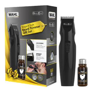 Wahl GroomEase Shape & Style Beard Trimmer Gift Set | Beard Trimmer & Beard Oil - Black - 5606-800
