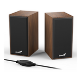Genius Multimedia Wooden USB Speakers for Laptop & PC - Black or Brown - SP-HF180