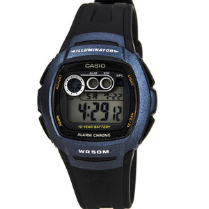 Casio Men's Digital Resin Strap Watch - Black - W-210-1BVES