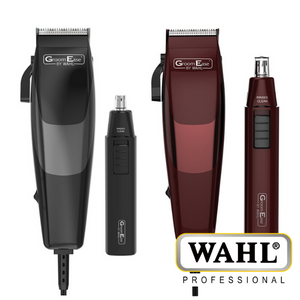 Wahl GroomEase Hair Clipper & Nose Trimmer Gift Set - Black or Burgundy - 79449