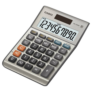 Casio MS100BM 10-Digit Desk Calculator with Tax Calculations - Silver - MS100BM-S