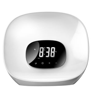 Groov-e Light Curve Touch Control FM Radio Alarm Clock with LED Lamp Wake-Up Light & Snooze - White - GVCR01/WE