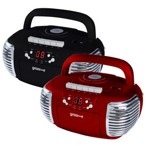 Groov-e Retro Boombox Portable CD & Cassette Player with Radio - Black or Red - GVPS813
