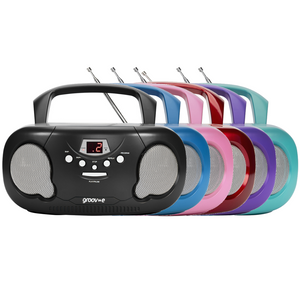 Groov-e Boombox Portable CD Player with Radio, Aux In & Headphone Jack - GVPS733