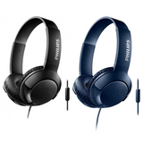 Philips SHL3075 BASS+ On-Ear Headphones with Mic | Sound Isolation | Flat Folding - Black or Blue
