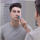 Remington NE3850 Mens Battery Operated Nose, Ear and Eyebrow Hair Trimmer Showerproof - Blue/Grey