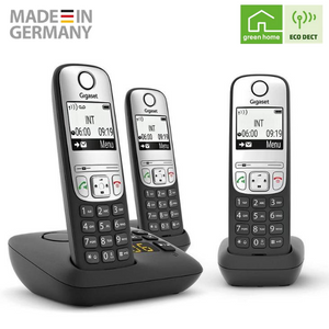 Gigaset A690A Trio Cordless DECT Home Telephones with Answering Machine - Pack of 3