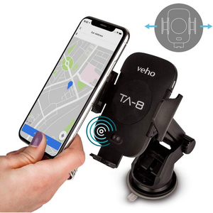 Veho Universal In-Car Smartphone Cradle with Qi Wireless Charging - Black - VAA-014-TA8
