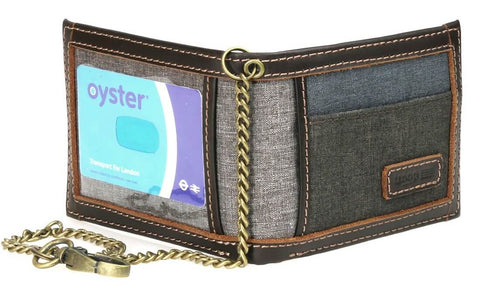 Bi-Fold with Urban Security Travel Wallet Chain and ID Card Window