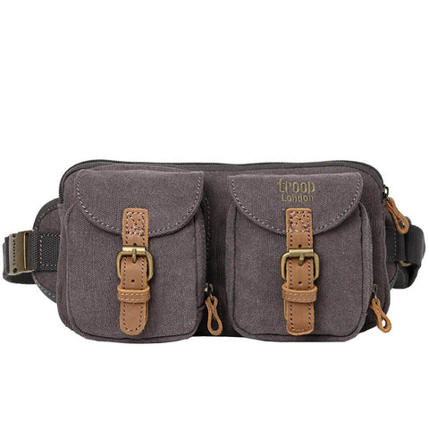L1512 Troop London Classic Canvas Waist Bag (Black) - troop-london-official