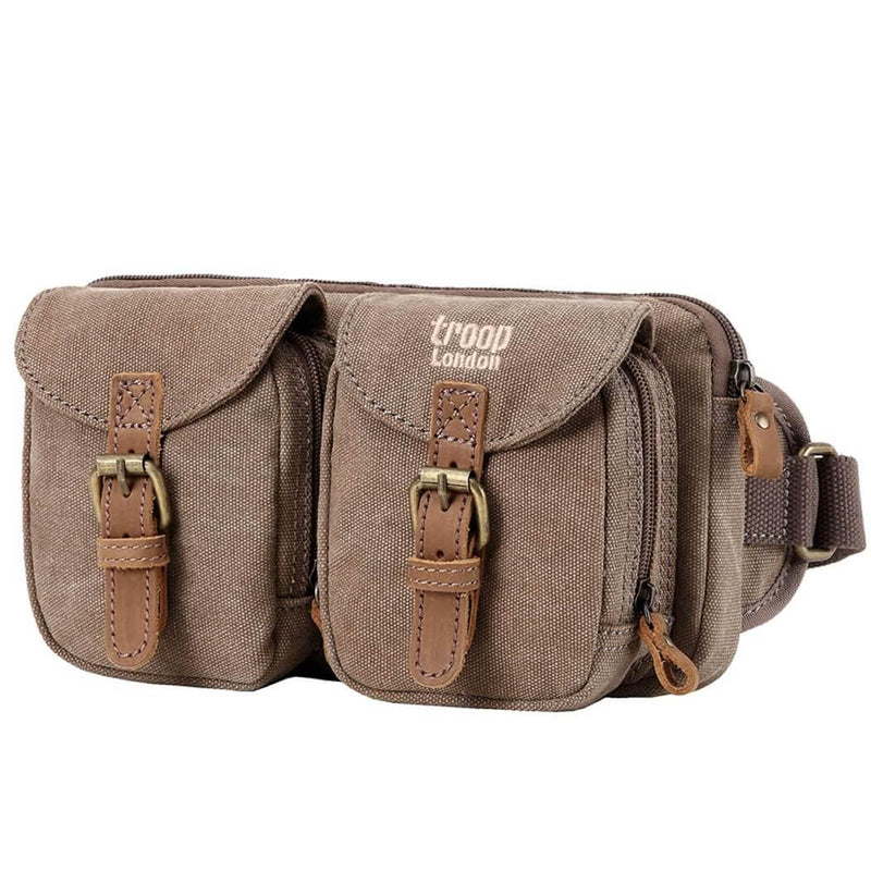 L1512 Troop London Classic Canvas Waist Bag (Brown) - Troop London