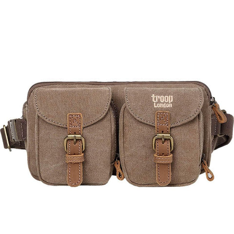 L1512 Troop London Classic Canvas Waist Bag (Brown) - troop-london-official