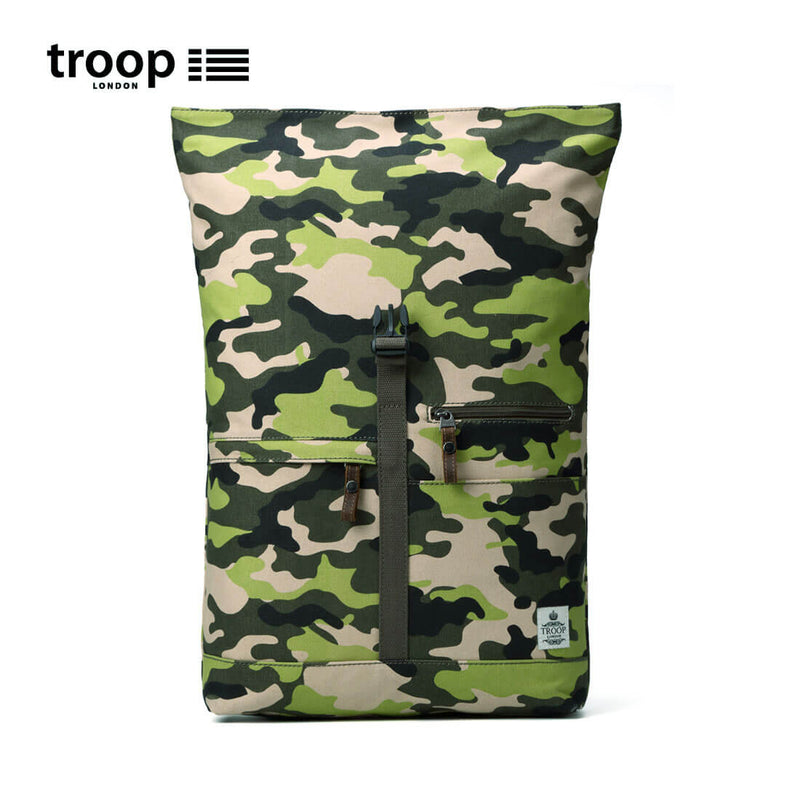 TRP0407 Troop London Urban Canvas Leather Backpack with Foldable Top, Smart Outdoor Rucksack, Small Daypack