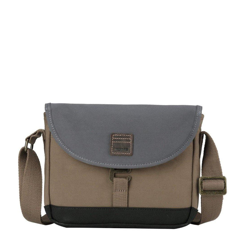 TRP0519 Troop London Heritage High Density Canvas Casual Crossbody Bag, Small Acrossbody Bag (Khaki) - troop-london-official