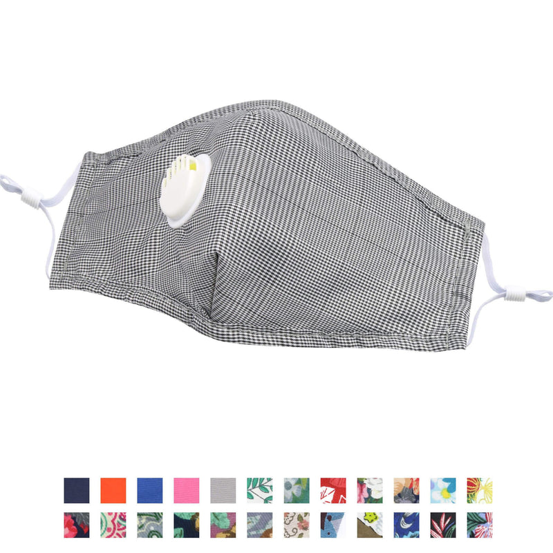 Face Coverings -  Reusable Cotton Face Masks With Nose Wire and Valve