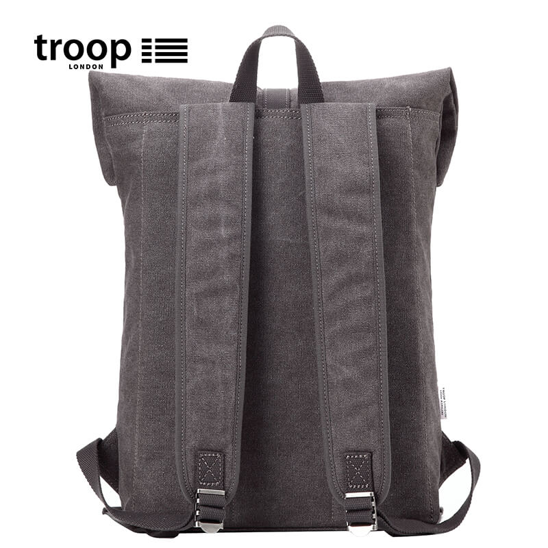"Q181122 Troop London Classic Canvas 13"" Laptop Backpack, Smart Casual Daypack with Foldable Top"
