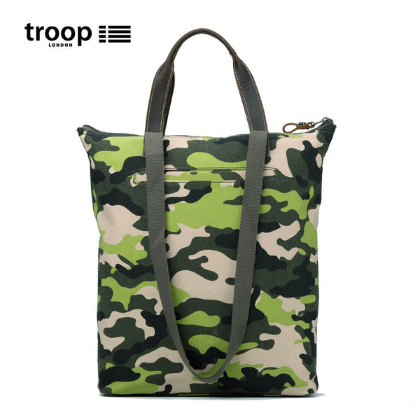 TRP0409 Troop London Urban Canvas Leather Top-Handle Bag, Shoulder Bag, Smart Tote Bag