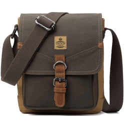 TRP0416 Troop London Heritage Canvas Shoulder Bag, Across Body Bag, Small Travel Bag - Troop London