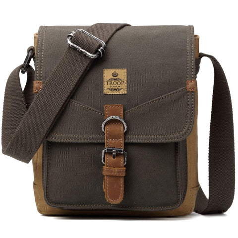 TRP0416 Troop London Heritage Canvas Shoulder Bag, Across Body Bag, Small Travel Bag - troop-london-official