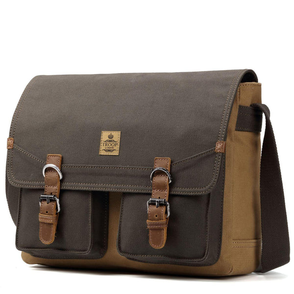 TRP0418 Troop London Heritage Canvas Messenger Bag, Canvas Satchel, Tablet Friendly Shoulder Bag - Troop London
