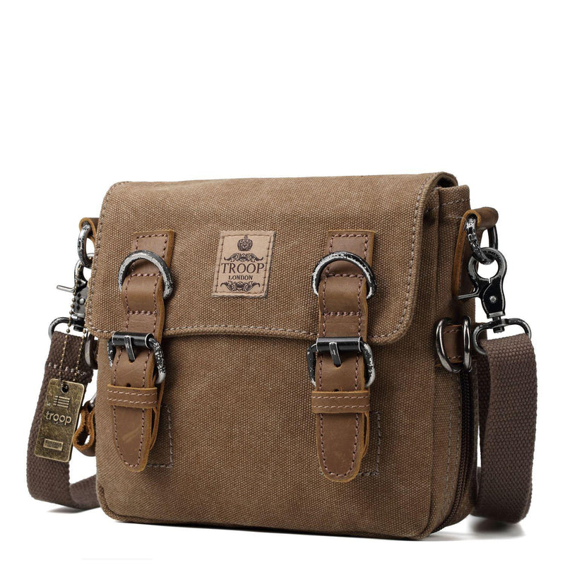 TRP0424 Troop London Classic Canvas Shoulder Bag, Across Body Bag, Smart Small Travel Bag - Troop London