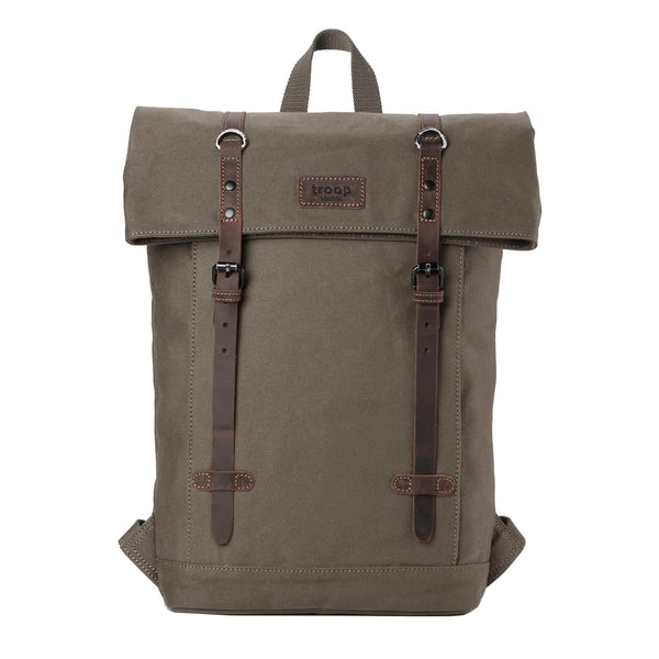 "TRP0425 Troop London Heritage Canvas 15"" Laptop Backpack, Smart Casual Daypack with Foldable Top - troop-london-official"