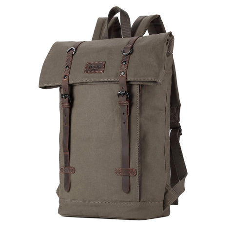 TRP0425 Troop London Heritage Canvas Leather Laptop Backpack Up To 15.6 Inch, Smart Casual Daypack with Foldable Top - troop-london-official
