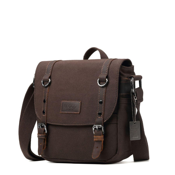 TRP0427 Troop London Heritage Canvas Shoulder Bag, Across Body Bag, Smart Travel Bag with Top Handle - Troop London