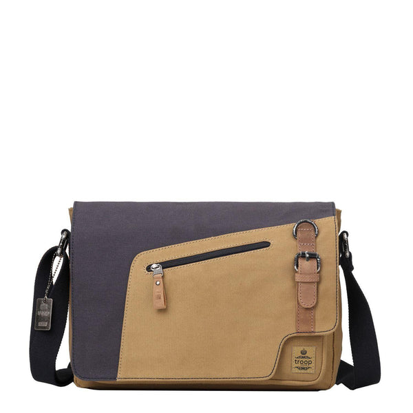 TRP0430 Troop London Heritage Canvas Messenger Bag, Canvas Satchel, Tablet Friendly Shoulder Bag