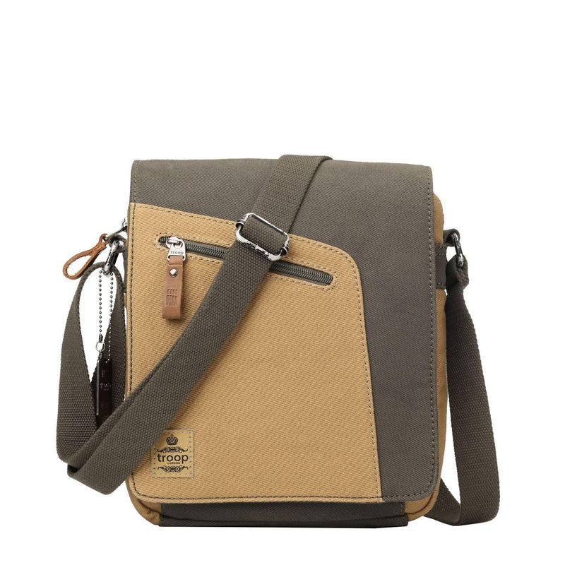 TRP0431 Troop London Heritage Canvas Shoulder Bag, Across Body Bag, Small Travel Bag - Troop London