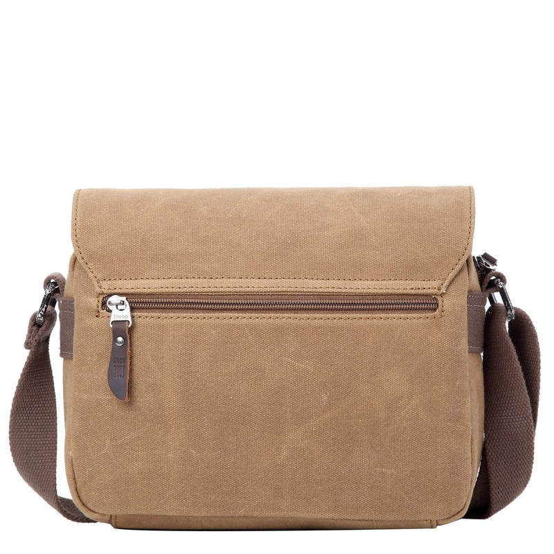 TRP0440 Troop London Heritage Canvas Leather Across body Bag, Small Travel Bag - Troop London