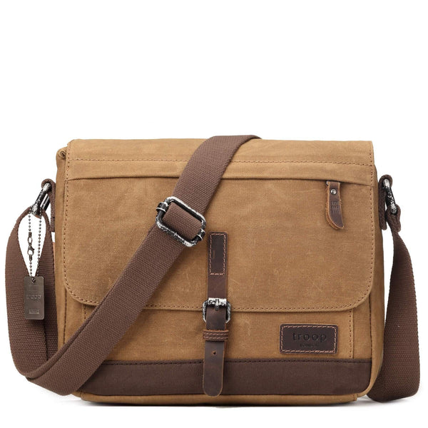 TRP0443 Troop London Heritage Canvas Leather Messenger Bag, Travel Bag, Tablet Friendly - Troop London