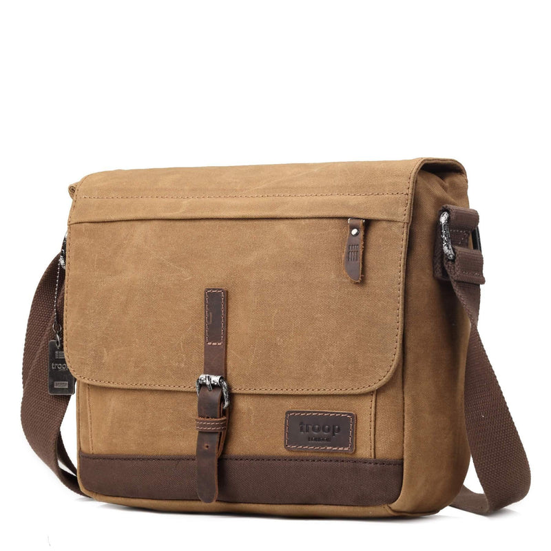 TRP0443 Troop London Heritage Canvas Leather Messenger Bag, Travel Bag, Tablet Friendly