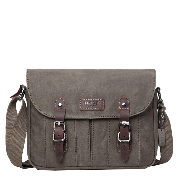 TRP0445 Troop London Heritage Canvas Messenger Bag, Travel Bag, Tablet Friendly - Troop London