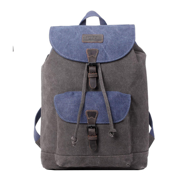 TRP0464 Troop London Heritage Waxed Canvas Laptop Backpack, Casual Daypack - Troop London