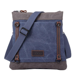 TRP0467 Troop London Heritage Waxed Canvas Across Body Bag, Slim Travel Bag - Troop London