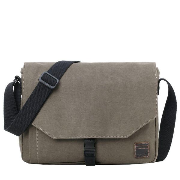 TRP0469 Troop London Heritage Waxed Canvas Laptop Messenger Bag, Slim Travel Bag Tablet Friendly