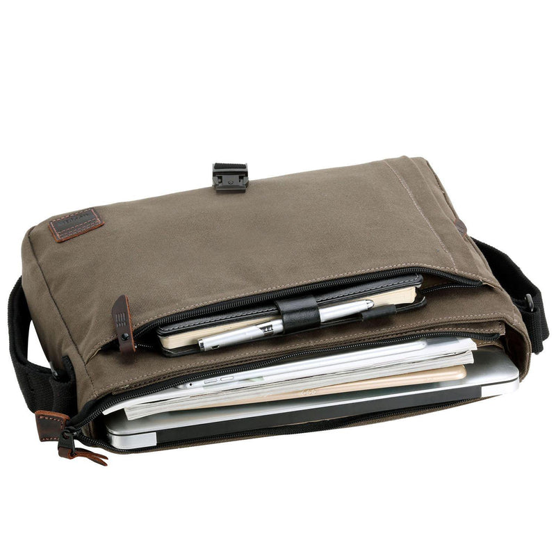 TRP0469 Troop London Heritage Waxed Canvas Laptop Messenger Bag, Slim Travel Bag Tablet Friendly - Troop London