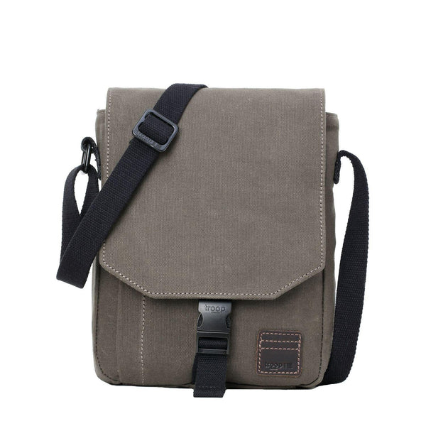 TRP0470 Troop London Heritage Waxed Canvas Across Body Bag, Slim Travel Bag - troop-london-official