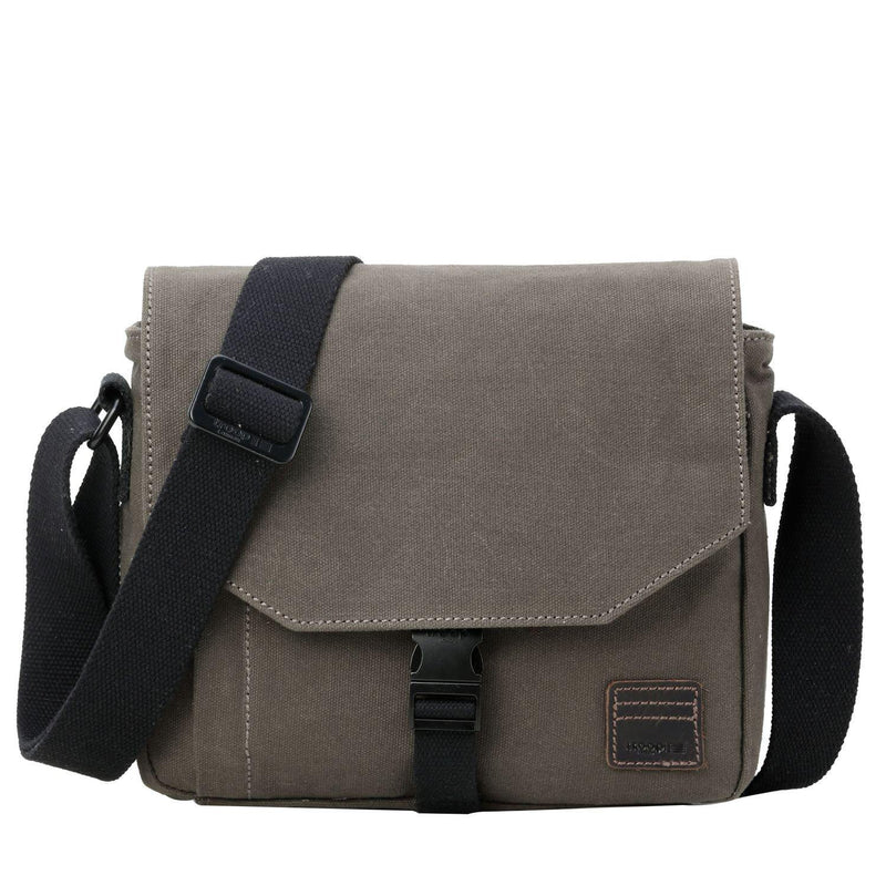 TRP0471 Troop London Heritage Waxed Canvas Small Across Bag, Slim Travel Bag - Troop London