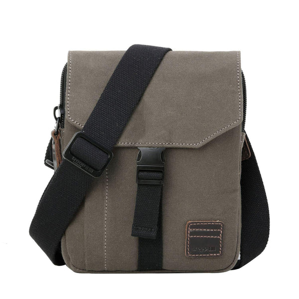 TRP0473 Troop London Heritage Waxed Canvas Across Body Bag, Slim Travel Bag Tablet Friendly