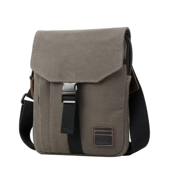 TRP0473 Troop London Heritage Waxed Canvas Across Body Bag, Slim Travel Bag Tablet Friendly - Troop London