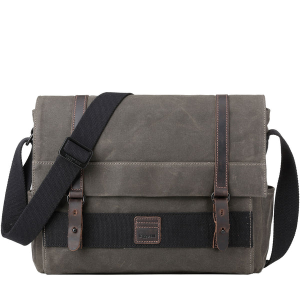 TRP0476 Troop London Heritage Waxed Canvas Laptop Messenger Bag, Messenger Bag, Canvas Bag for Travel and Work - Troop London
