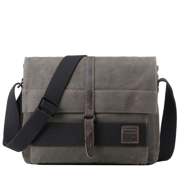TRP0478 Troop London Heritage Waxed Canvas Messenger Bag, Slim Travel Bag Tablet Friendly - troop-london-official
