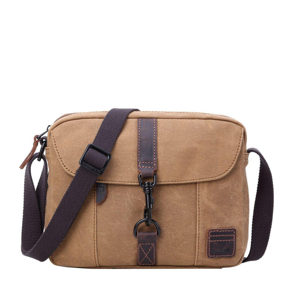 TRP0483 Troop London Heritage Waxed Canvas Across Body Bag, Shoulder Bag, Canvas Bag for Travel and Work - Troop London
